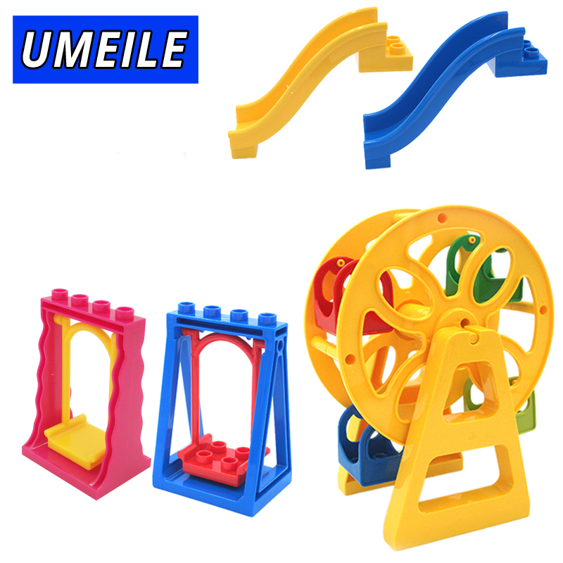 UMEILE Brnad Amusement Park Large Building Blocks Swing Ferris Wheel Slide Assemble Brick Toys Brinquedos Compatible with Duplo umeile brand farm life series large particles diy brick building big blocks kids education toy diy block compatible with duplo