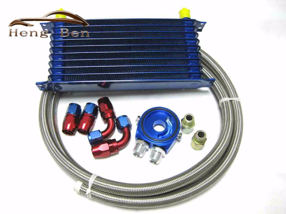ФОТО HB Car Universal 10 Rows Oil Cooler Kit M20XP1.5 3/4X16 UNF Oil Filter Fitting Adapter