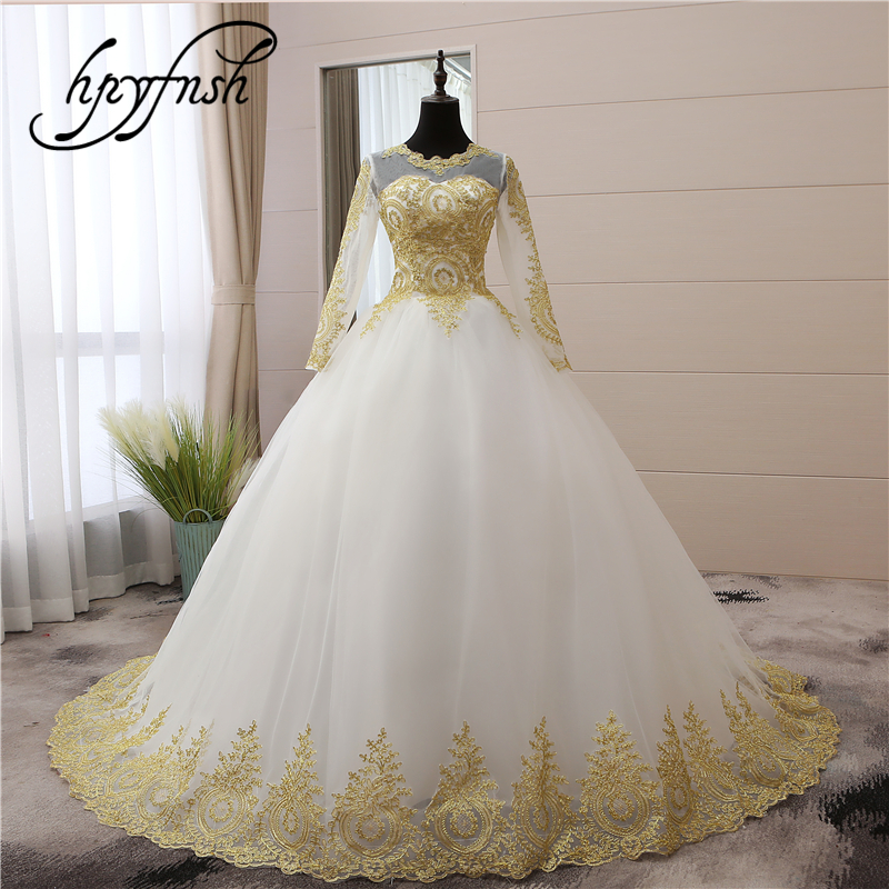 Vintage Gold lace Appliques Embroidery Sweetheart White Blue Red Full Sleeve Fashion Muslim Wedding Dresses brides plus size 75-in Wedding Dresses from Weddings & Events    1