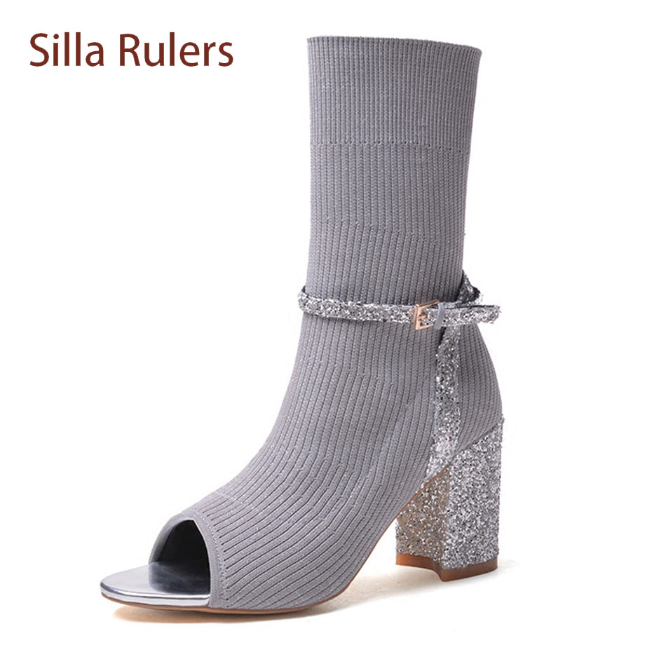 Silla Rulers fashion stretch knit peep toe chunky heel ankle boots bling belt buckle slip on elastic sandals boots women shoes