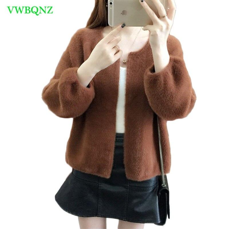 Nouveau pull court femmes automne hiver lâche sept manches tricot Cardigan femmes mode sauvage lanterne manches rose peluche veste 344