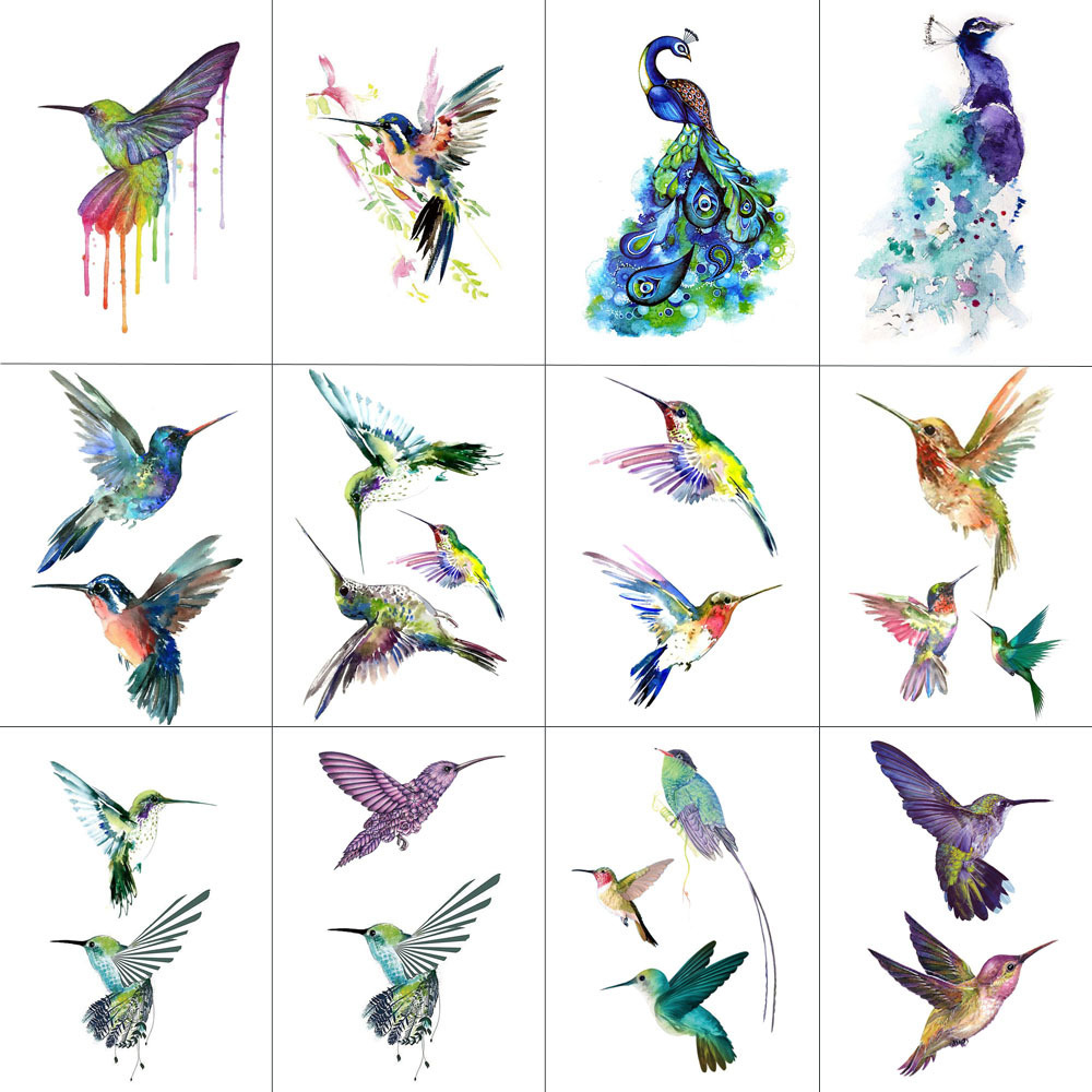 HXMAN 12 PCS Bird Hummingbird Temporary Tattoo Sticker For Women Men Body Art Adults Waterproof Hand Fake Tatoo 9.8X6cm W12-13