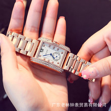 HK Марка Золото Стали Смотреть ретро Моды Квадратных Бриллиантовый браслет Дамы Кварцевые Роскошные Женщины Подарок Наручные Часы