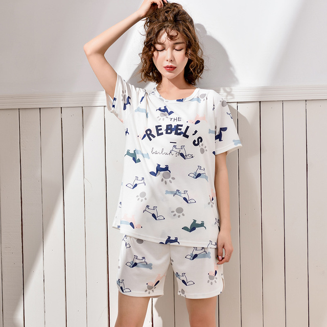89df33765ac6 Cotton Short Sleeve pyjama Korean Summer home clothes Woman M-XXL women pajama  set with pants cute sleep lounge Favourite