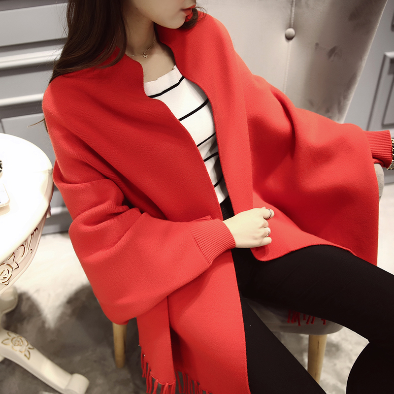 OHCLOTHING 2609 2016 big explosion of double color tassel Wool Shawl Jiaxing women cardigan sweater