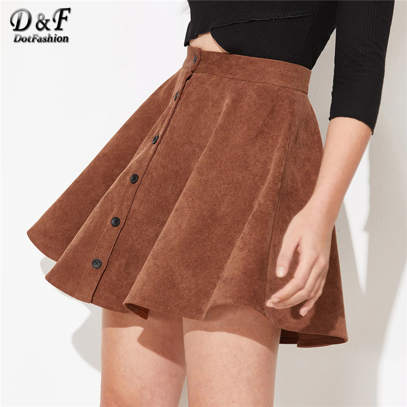 Dotfashion Solid Button Up Flare Cord Skirt Women 2019 Preppy Summer Casual Spring Ladies Fashion Mid Waist Short Skater Skirts-in Skirts from Women's Clothing