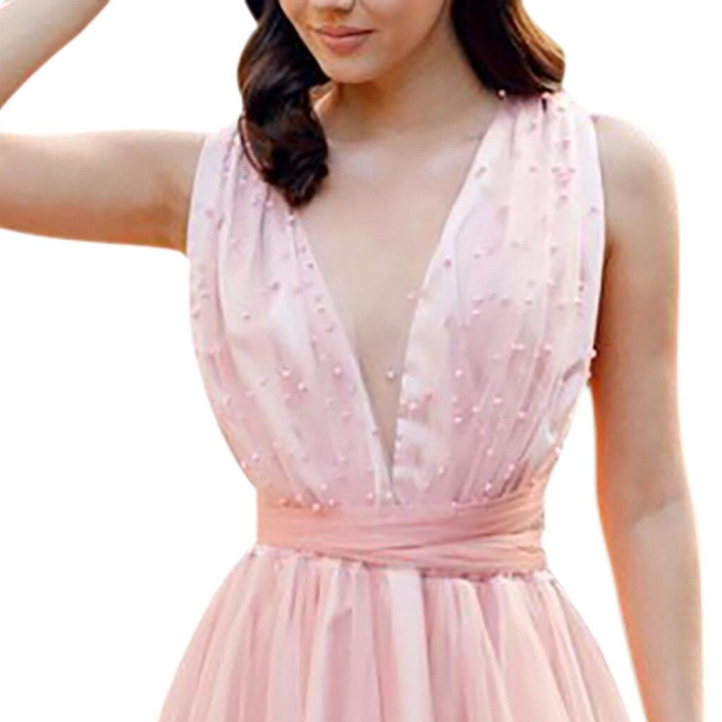aff908ed668ce2 Spitze Neue Ärmelloses Sexy Qualität Verkauf Heißer V ausschnitt Rosa Hohe Frauen  2019 Mode Trend Kleid Abendessen eEDH9IYW2
