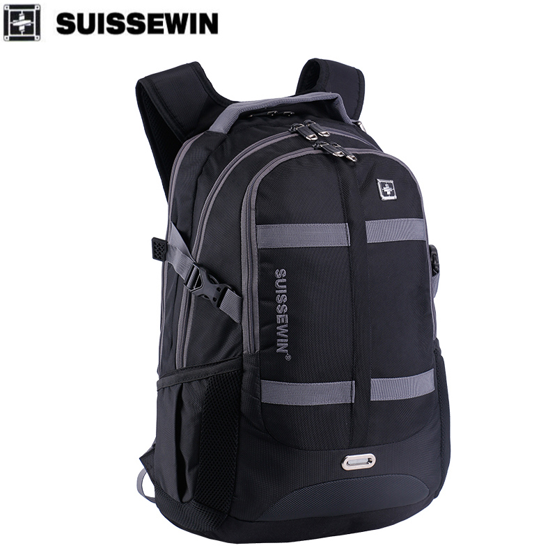 SUISSEWIN rukzak waterproof Men backpack School backpack 36L students bags Nylon Waterproof young travel bags Shoulder