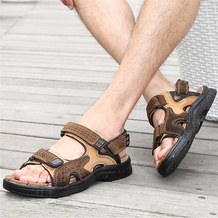 HTB1rM3bbijrK1RjSsplq6xHmVXak - ROXDIA Genuine Leather New Fashion Summer Breathable Men Sandals Beach Shoes Men's Causal Shoes Plus Size 39-44 RXM002
