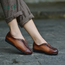 Women's shoes flat heel soft soled comfortable genuine leather woman shoes leisure slip on loafers