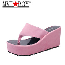 Mvp Boy Summer Newest  Womens Beach Flip Flops Bohemian Slipper Platform Wedge Shoes Woman High heels White Pink