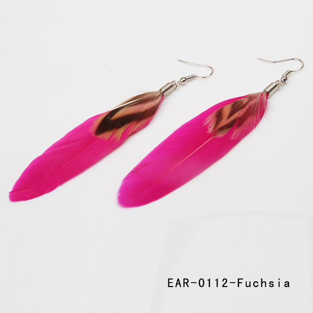 12 Colors Very Cheap Feather Earrings