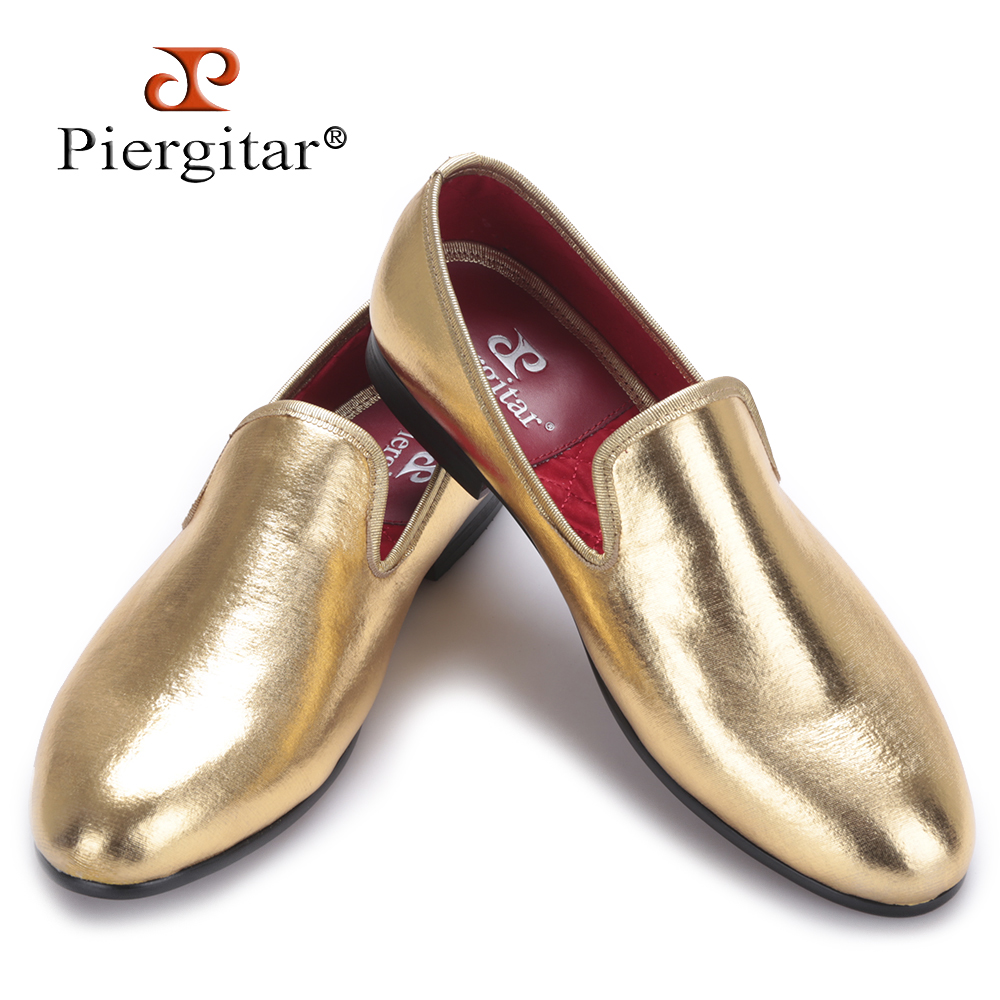 Piergitar 2017 NEW Fashion Men Flats Shoes HandMade Shiny Gold and Silver party and wedding men dress loafers Big Size Mocassins 2016 new style handmade white color print gold flower china style men loafers wedding and party men shoes fashion men s flats