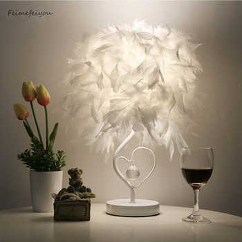 Feimefeiyou Bedside Reading Room Sitting Room Heart Shape Feather Crystal Table Lamp for bedroom Light art deco home planetarium - DISCOUNT ITEM  35% OFF All Category