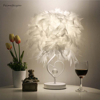 Bedside Reading Room Sitting Room Heart Shape Feather Crystal Table Lamp Light With EU Plug
