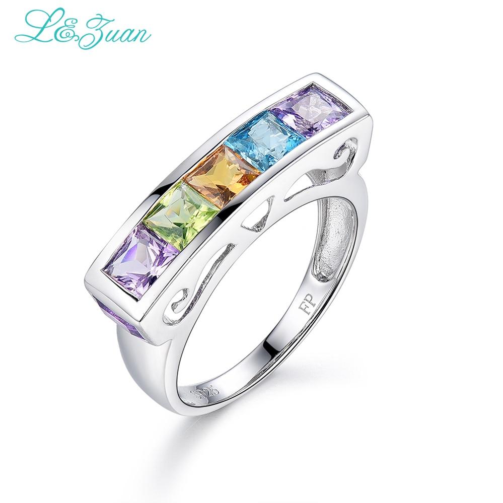 I & Zuan Fina smycken 925 Sterling Silver Ring Naturlig ametyst / grönkristall / Topaz / Citrinringar för kvinnor Modegåva 7516V