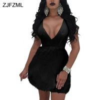 ZJFZML Sequin Dress Summer Women Black White Feather Embellished Mini Dress Evening Party v Neck Sexy Ball Gown Women Dresses
