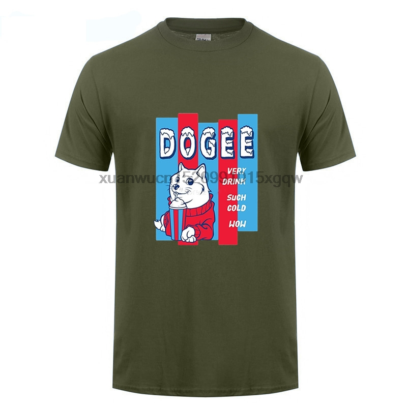 GILDAN Funny Shiba Inu Dog T Shirt Dogee Very Drink Such Cold Wow T Shirt Shop Order Tees Shirt Team Short Sleeve Fathers Day
