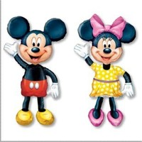 6pcs Lot 135cm Minnie Mickey Mouse Balloons Cartoon Aluminum Foil Balloon Walk Stand Kids Birthday Balloons