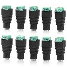 10 шт. DC штекер CCTV камера 5,5 мм x 2,1 мм DC кабель питания гнездовой разъем адаптер Jack 5,5*2,1 мм для подключения светодиодной ленты