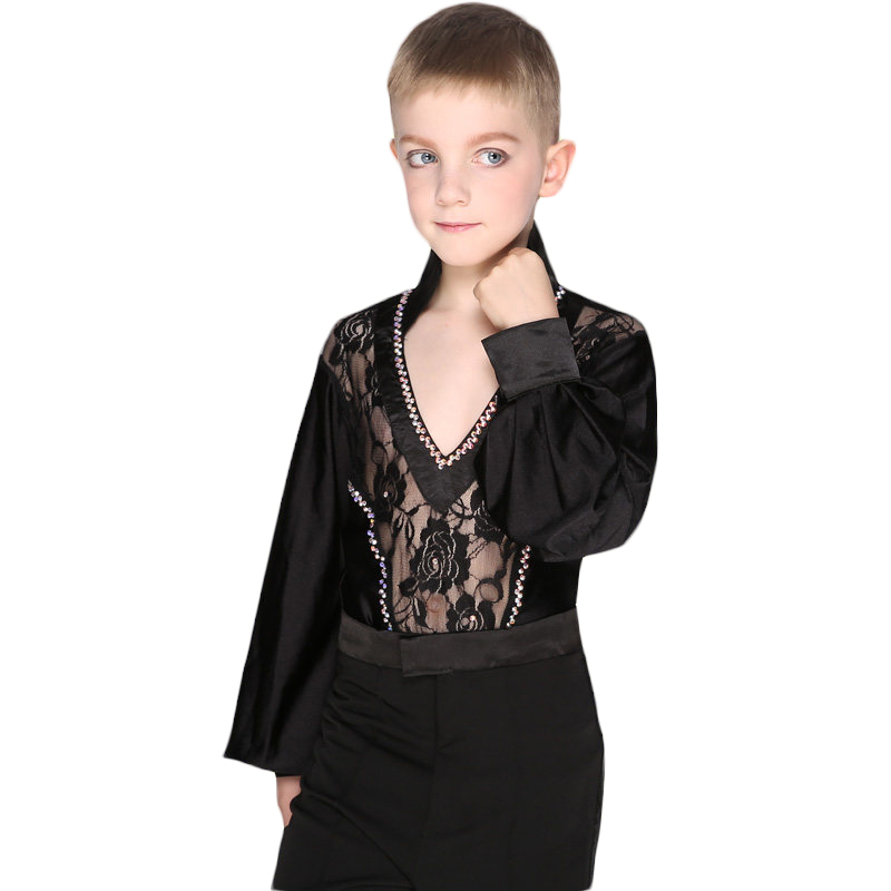 Kids Boys Rhinstone Long Sleeve Sexy Lace Latin Dance Shirt Leotard Stage Performance Competition Clothes For Boys