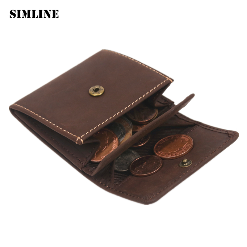 SIMLINE Genuine Leather Coin Purse Vintage Men Woman Small Mini Hasp Wallet Wallets Pocket Case Storage Bag Holder Male Female simline vintage genuine crazy horse cow leather men men s long hasp wallet wallets purse zipper coin pocket holder with chain