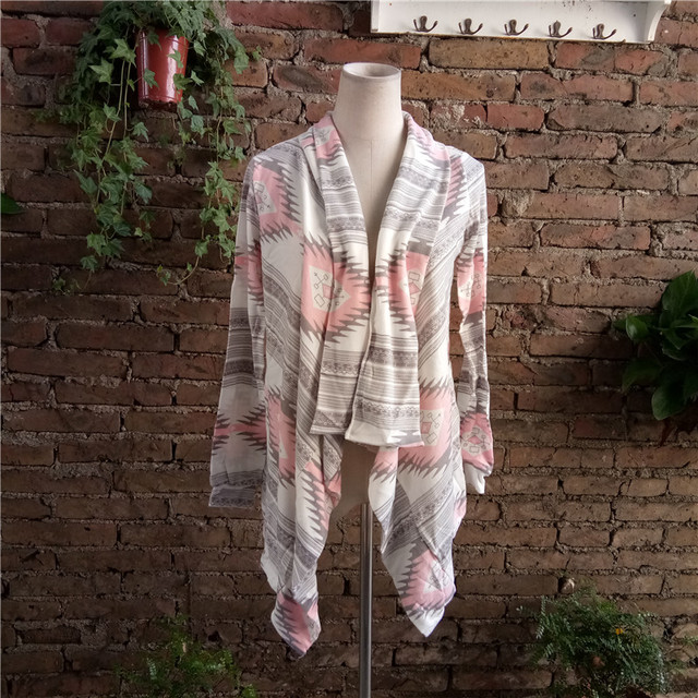 Fashion winter Kimono Knitted Cardigan Long Sleeve Poncho Sweaters Print irregular sexy lady warm Jackets Cardigan Women Tops 6