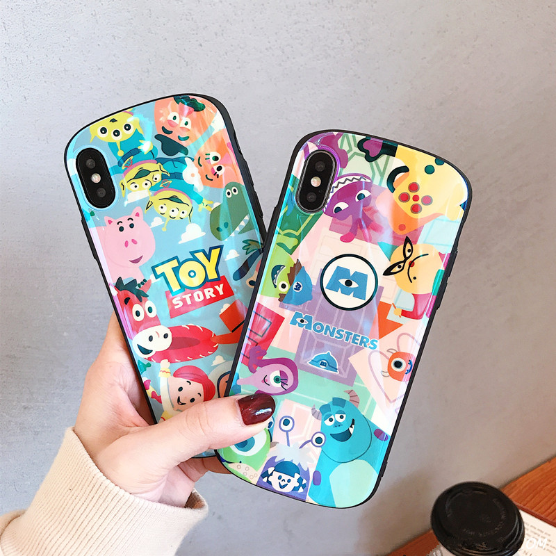 XS Max Soft Tpu Case For iphone X 7 Plus Cartoon Silicone Full Cover Case For iphone 8 6 6S Plus blue ray Shell protective Coque