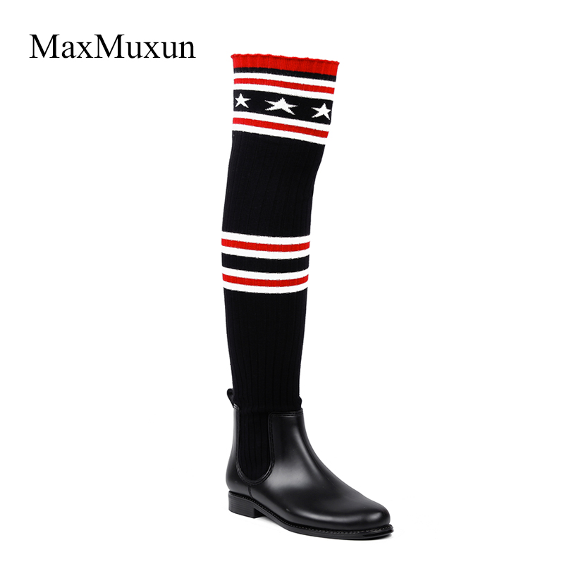 MaxMuxun Rain Boots Women Over The Knee Rubber Sock Boots Slim Fabric Gingham Jackboots Thigh Heel Winter Booties Knitted Shoes