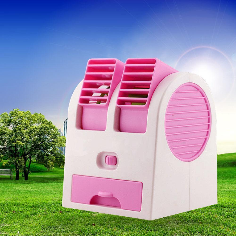 Pink Mini Small Fan Cooling Portable Desktop Dual