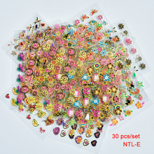 30 Sheets Pink&Gold  Nail Blooming Flower 3D Nail Stickers Decal Nail Art Sticker Self-Adhesive Decal Manicure Decorations flamingo nail stickers animal series water decal ocean cat plant pattern 3d manicure sticker nail art decoration