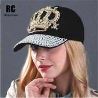 [Rancyword] Для женщин Джинсовые Snapback шляпа леди Жан Hat точки детализации жемчуг ковбойская шляпа горный хрусталь Хрустальная корона Hat Casquette rc1060