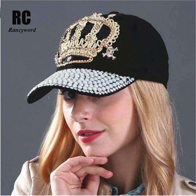Rancyword  Women Denim snapback Hat Lady jean hat Point drill pearl cowboy  hat rhinestone crystal crown Hat casquette RC1060 9572b9ef42ac
