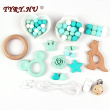 TYRY.HU Baby Teether Silicone Bead DIY Set Food Grade Teething Toy Beech Wooden Accessories Beads