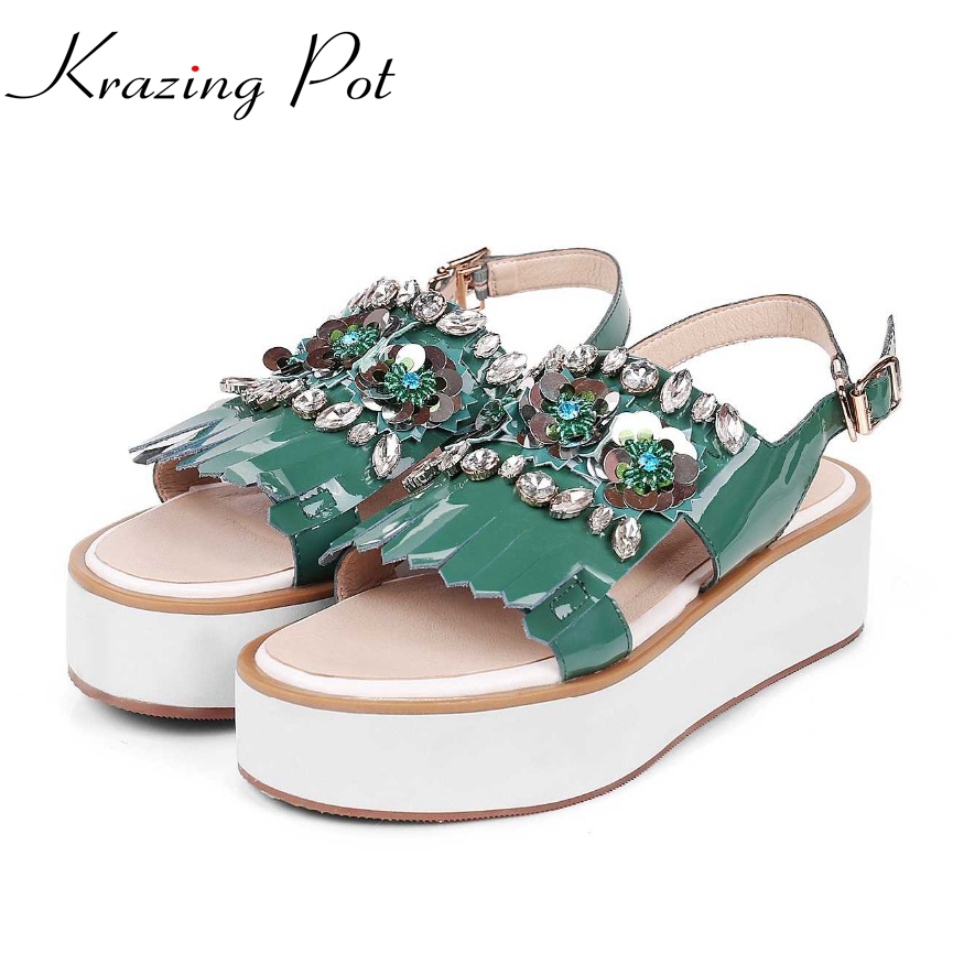 Krazing Pot genuine patent leather peep toe wedges high heels beading flower platform women tassel crystal increased sandals L18 free shipping 100%real picture women shoes wedges high heels platform luxury ethnic diamond genuine leather peep toe sandals