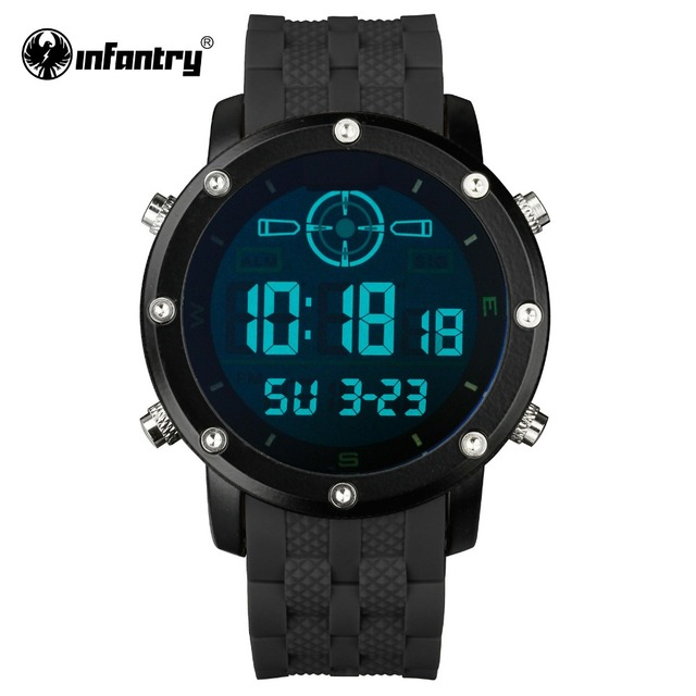 INFANTRY Men LED Digital Wristwatches Outdoor Military Watches Luxury Brand Male Clock Sport Rubber Black Relogio Masculino 2017