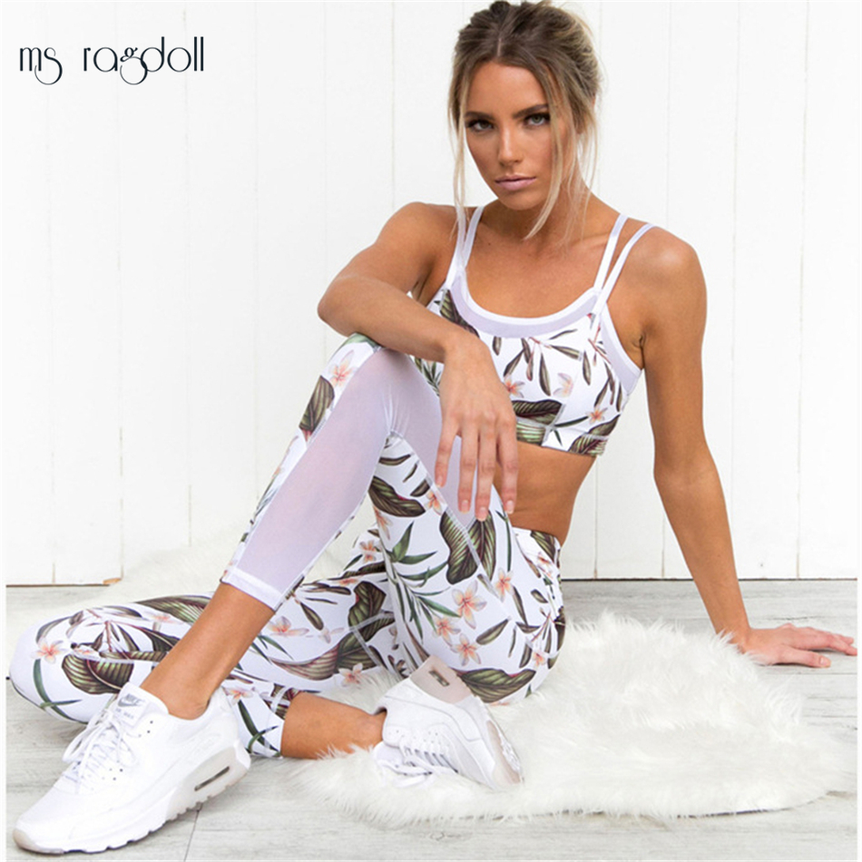 Chándal para las mujeres Floral impresión Mash Patchwork 2 unidades Yoga Set mujeres Cropped Bra + Pantalones largos Fitness deporte traje ropa de las mujeres