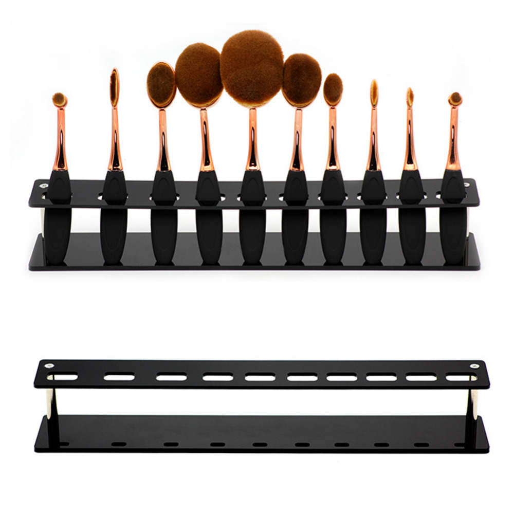 10 Hole Makeup Brush Holder Acrylic Board Detachable Cosmetics Drying Rack Shelf Makeup Brushes Display Stand Storage Organizer aluminum plastic board eyeglass sunglasses display holder rack stand for 52pairs each distance 0 5cm total height 940mm 1pc lot