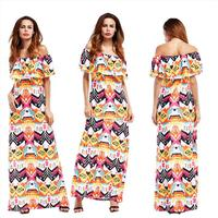 Boho Maxi Dress Women Multi Color Floral Print Off Shoulder Ruffled Sleeve Long Dresses Feminine Ankle