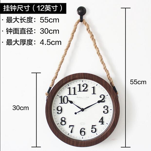 Clock 30cm  lanyard clock american country wall clock brief mute clock