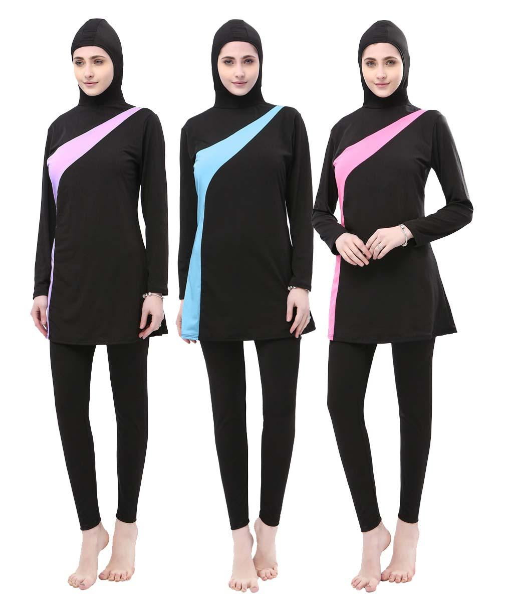 New Burkini Muslim Women Swimwear Full Cover Swimsuit Islamic Modesty Hijab Beachwear Arab Bathing Suit Plus Size Swim Sur Wear