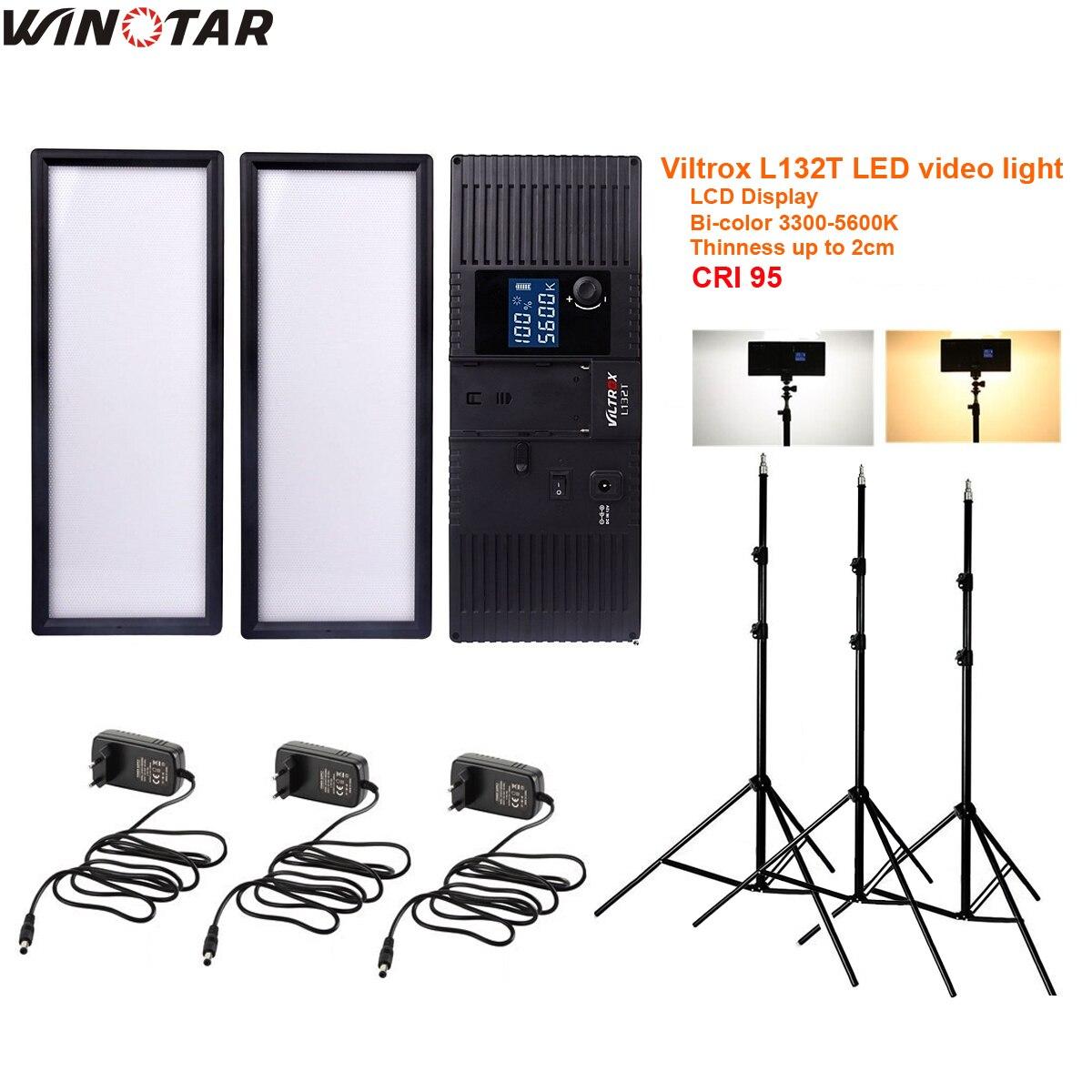 3x Viltrox L132T Bi-Color Dimmable LED Video Light + Light Stand + AC Adapter for DSLR Camera Studio LED Lighting Kit