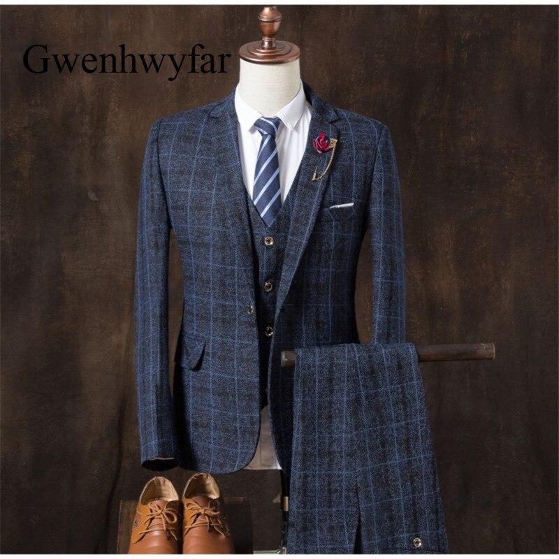 Voboom Herringbone Wool Tweed Waistcoat Mens Plaid Suit Vest Casual Fit Male Business Wedding Classic Masculino Blazer 007 Top Watermelons Vests Suits & Blazers