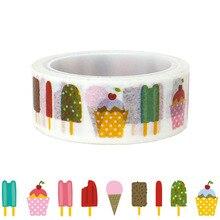 20pcs/set Cartoon Ice Cream Bar Popsicle Washi Tape DIY Decorative Stickers Hand Book Kawai Masking Wholesale