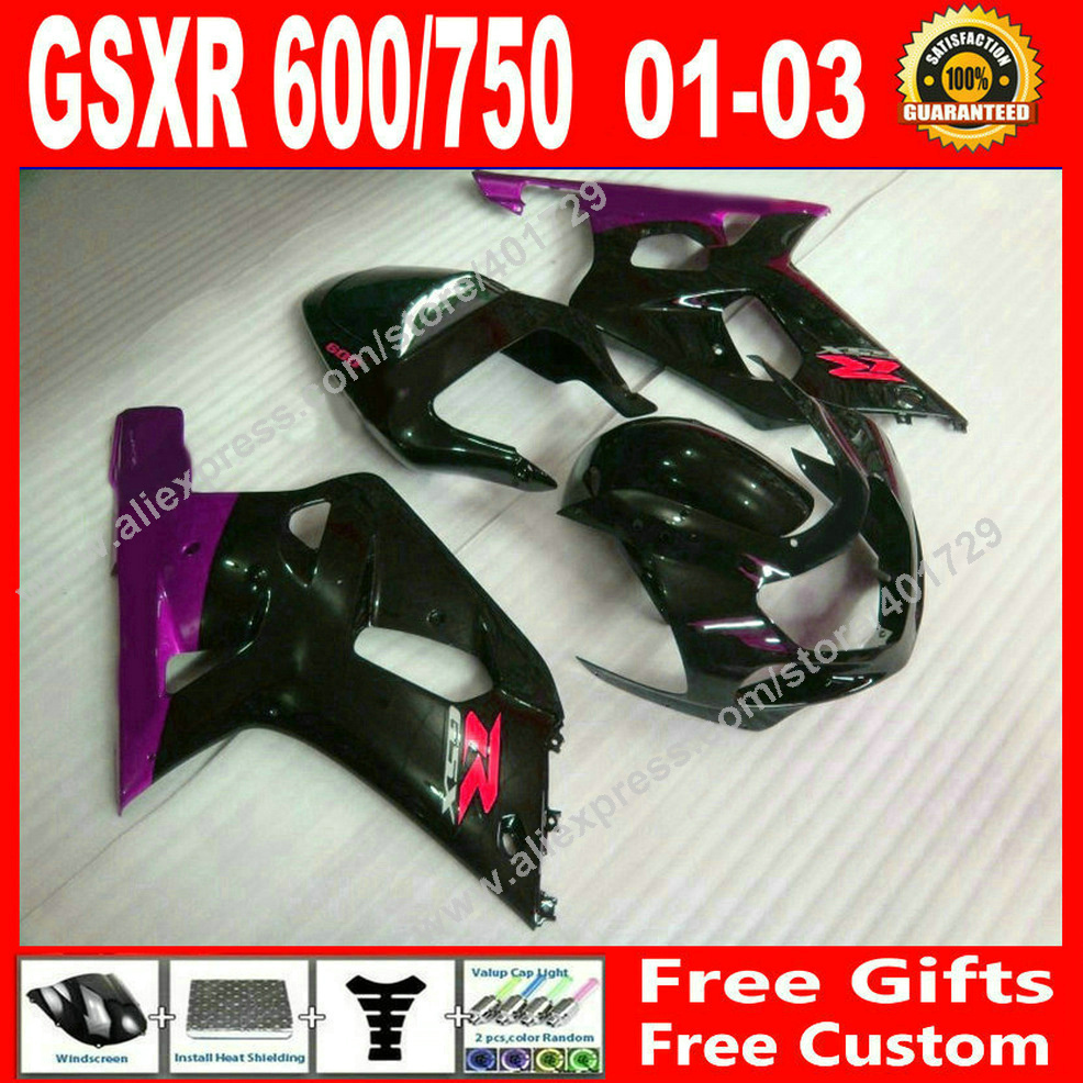 Hot sale Fairings for purple black 2001 2002 2003 bodywork SUZUKI GSXR 600 750 motocycle parts 01 02 03 fairing kits 7 gift BJ03