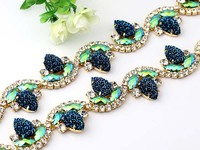 1 yard/lot Flower colorful Glass Rhinestone Cup Chain gold Base Dress Belt Trim Applique Sew on Garment