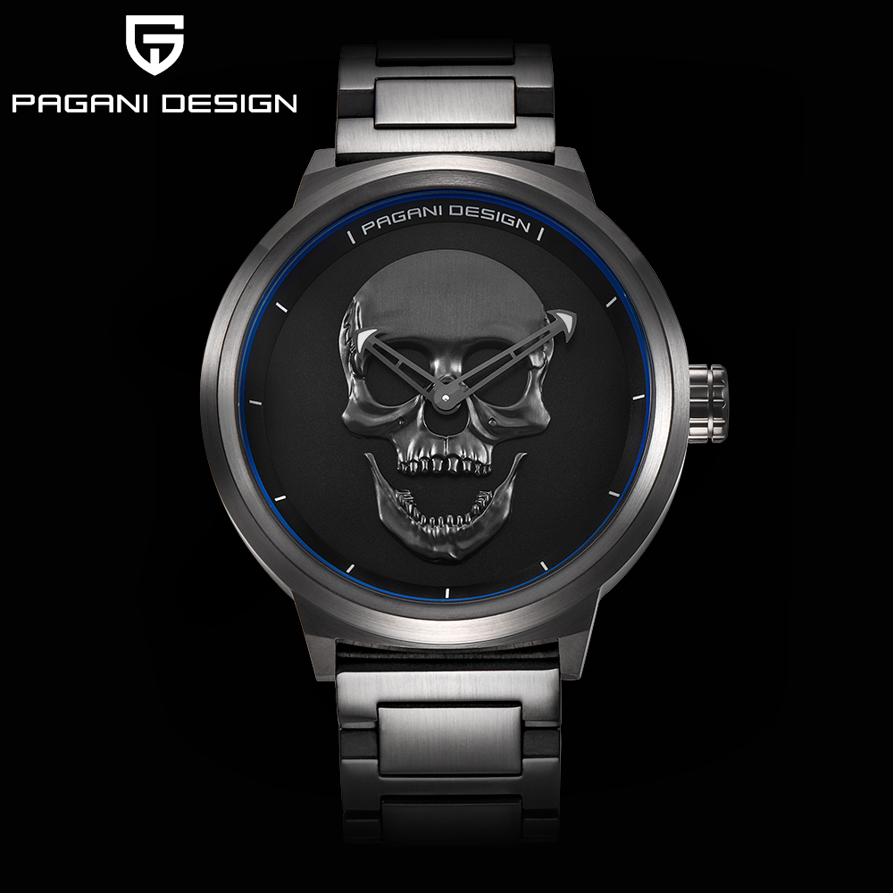 Модные Панк 3D череп Личность ретро модные для мужчин часы водостойкие нержавеющая сталь Спорт Кварцевые часы Relogio Masculino