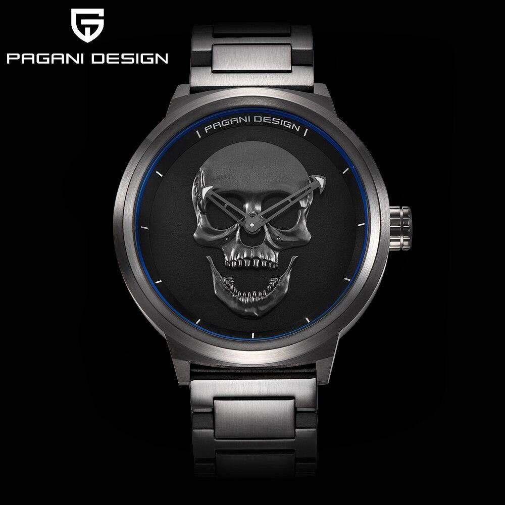 Модные панк 3D череп личности ретро моды Для мужчин смотреть Водонепроницаемый Нержавеющаясталь Спорт Кварцевые часы Relogio Masculino