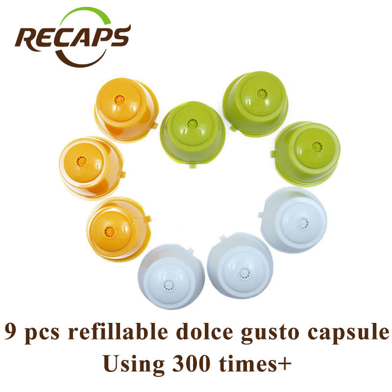 RECAPS 9pcs / pack Refillable Återanvändbar Kaffe Capsule Pod Refillation för Nescafe Dolce Gusto Machines Makers Brewer BPA Free