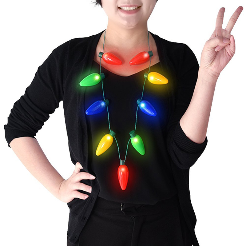 Christmas And New Year Gift 9 Led Necklace LED Light Up Bulb Party Favors For Adults Or Kids As A New Year Gift